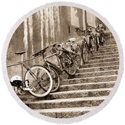 Bike Stairs Zurich Round Beach Towel