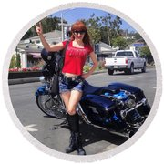 Biker Girl. Model Sofia Metal Queen Round Beach Towel