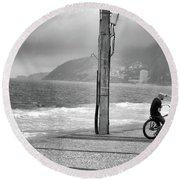 Biker In Ipanema Round Beach Towel