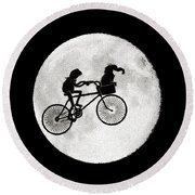Biker Of The Moon Round Beach Towel