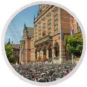 Bikes In Front Of Dutch University Round Beach Towel
