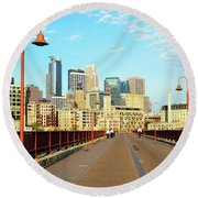 Biking On The Stone Arch Bridge Round Beach Towel