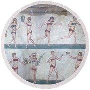 Bikini Girls Mosaic Round Beach Towel