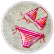 Bikini - Id 16218-130715-5870 Round Beach Towel