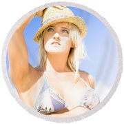 Bikini Lady Against Blue Sky Background Round Beach Towel