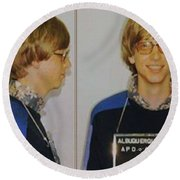 Bill Gates Mug Shot Horizontal Color Round Beach Towel