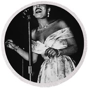 Billie Holiday Round Beach Towel by American School