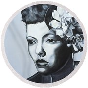 Billie Holiday Round Beach Towel