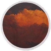 Billowing Clouds Sunset Round Beach Towel