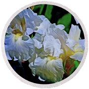Billowing White Irises Round Beach Towel