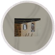 Billy Can And Oil Lamp Round Beach Towel