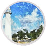 Biloxi Lighthouse Round Beach Towel