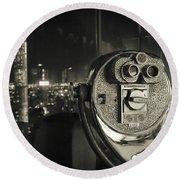 Binocular In New York City, Image In Grunge And Retro Style. Round Beach Towel