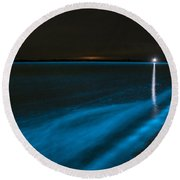 Bioluminescence In Waves Round Beach Towel by Philip Hart