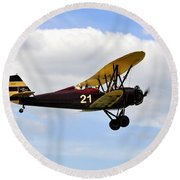 Biplane Round Beach Towel