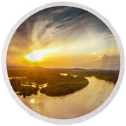 Bira River At Sunset. Round Beach Towel