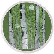Birch - Green 1 Round Beach Towel by Jacqueline Athmann