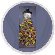 Birch And Orchid Twig Dress Exhibit Piece Round Beach Towel