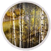 Birch Bark And Trees Abstract Round Beach Towel