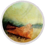 Birch Bark Canoe At Rest Round Beach Towel