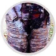 Birch Bark Closeup Round Beach Towel