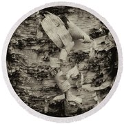 Birch Bark Detail Monotone Img_6361 Round Beach Towel