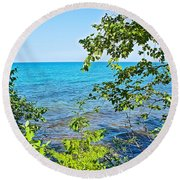 Birch Trees Above Lake Superior Off North Country Trail In Pictured Rocks National Lakeshore-mi Round Beach Towel