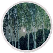 Birch Trees Round Beach Towel