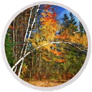 Birch Trees - Autumn Round Beach Towel