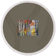 Birch Trees By The Lake Round Beach Towel