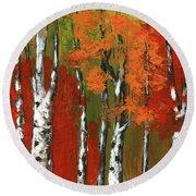 Birch Trees In An Autumn Forest Round Beach Towel