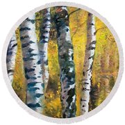 Birch Trees In Golden Fall Round Beach Towel