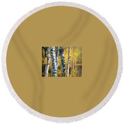 Birch Trees In Golden Fall Round Beach Towel