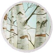 Birch Trees In Late Autumn Round Beach Towel