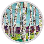 Birch Trees Round Beach Towel