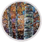 Birch Trees Oil Painting With Palette Knife  Round Beach Towel