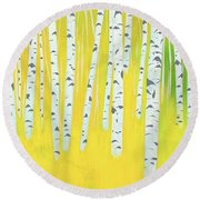 Birch Woods Round Beach Towel