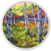 Birches 01 Round Beach Towel