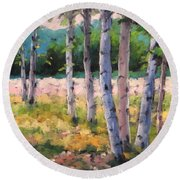Birches 04 Round Beach Towel
