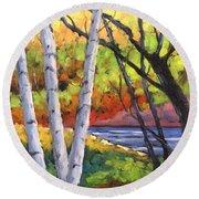 Birches 06 Round Beach Towel