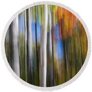 Birches In Autumn Forest Round Beach Towel