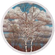 Birches In The Spring Round Beach Towel