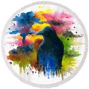 Bird 71 Crow Raven Round Beach Towel
