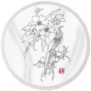Bird And Flowers Round Beach Towel