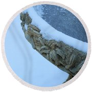 Bird Bath In The Snow Round Beach Towel