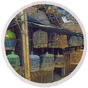 Bird Cages Vintage Photo Indonesia Round Beach Towel
