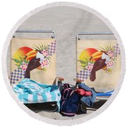 Bird Chairs Round Beach Towel