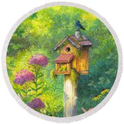 Bird House And Bluebird  Round Beach Towel