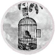 Bird In A Cage-black Round Beach Towel