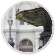 Bird In A Fountain Round Beach Towel